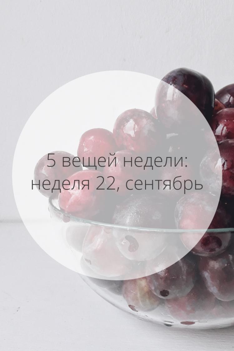 5 вещей недели: неделя 22, сентябрь | Slow Life Blog