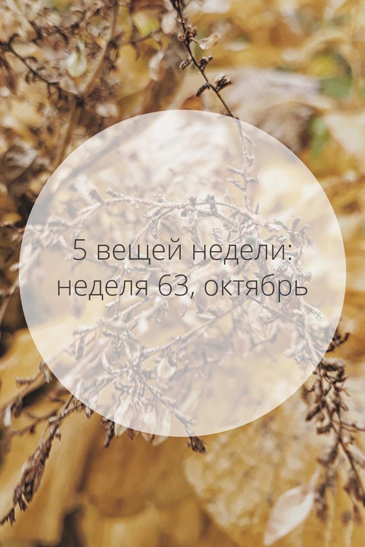 5 вещей недели: неделя 63, октябрь | Slow Life Blog